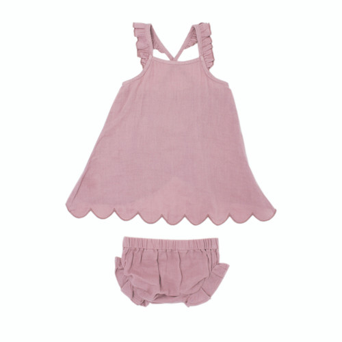 Organic Muslin Tunic Top & Bloomer Bottom Set in Lavender, Flat