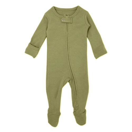 Organic Zipper Jumpsuit in Sage, Flat