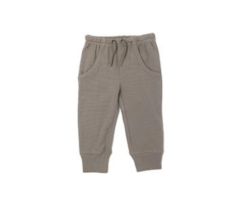 Organic Thermal Kids' Jogger Pants in Light Gray, Flat