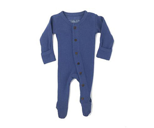 Organic Thermal Footed Overall in Slate, Flat