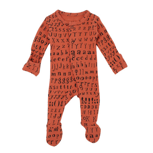 Organic Jumpsuit in Maple Letters, Flat