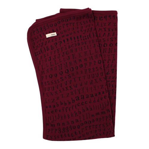 Organic Swaddling Blanket in Cranberry Letters, Flat