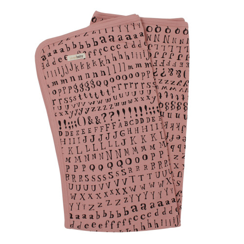 Organic Swaddling Blanket in Mauve Letters, Flat