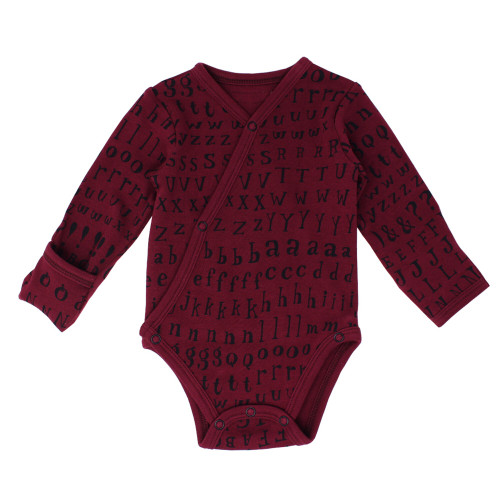 Organic Kimono Bodysuit in Cranberry Letters, Flat