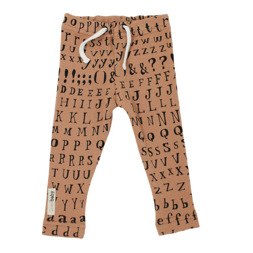 Organic Drawstring Leggings in Nutmeg Letters, Flat