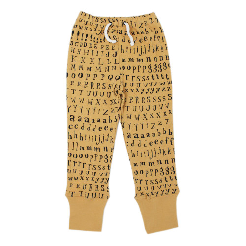 Organic Kids' Jogger Pants in Honey Letters, Flat