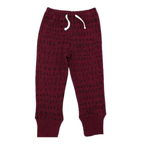 Organic Kids' Jogger Pants in Cranberry Letters, Flat