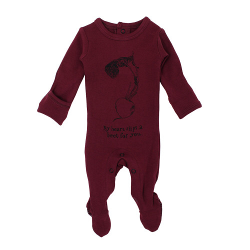 Organic Graphic Footie in Cranberry Beet, Flat