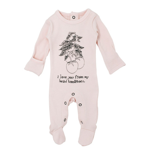 Organic Graphic Footie in Blush Tomato, Flat