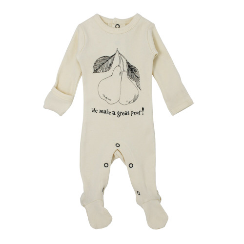 Organic Graphic Footie in Beige Pear, Flat