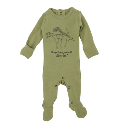Organic Graphic Footie in Sage Beans, Flat