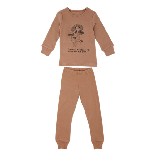 Organic Kids' L/Sleeve PJ Set in Nutmeg Mushrooms, Flat