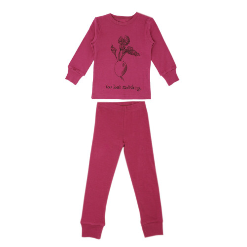 Organic Kids' L/Sleeve PJ Set in Magenta Radish, Flat
