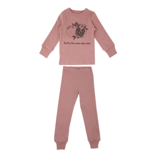Organic Kids' L/Sleeve PJ Set in Mauve Pomegranate, Flat
