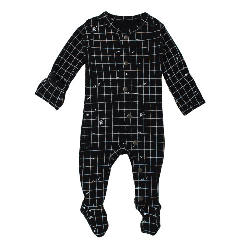 Organic Footed Overall in Black Coordinates, Flat