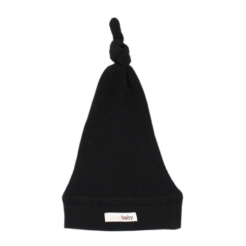 Organic Thermal Knotted Cap in Black, Flat