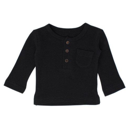 Organic Kids' Thermal L/Sleeve Shirt in Black, Flat