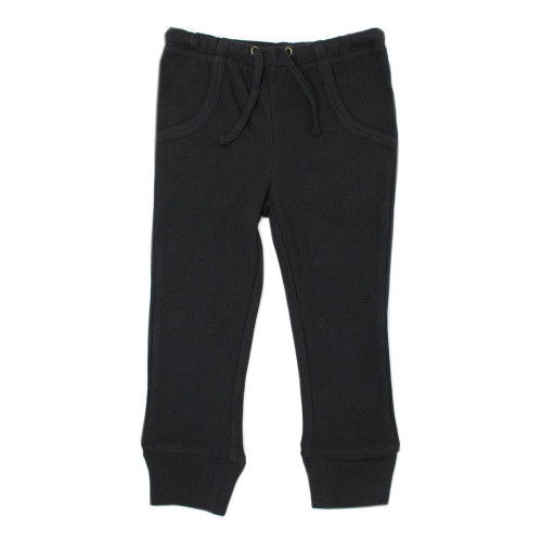 Organic Thermal Kids' Jogger Pants in Black, Flat