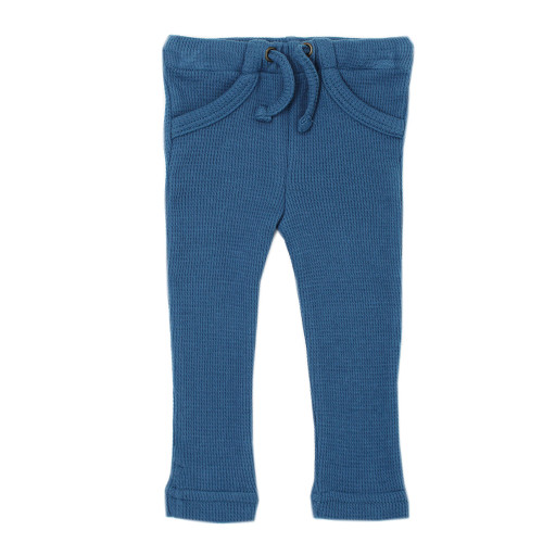 Organic Thermal Drawstring Fitted Pants in Azure, Flat