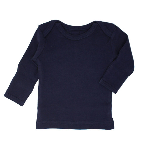 Organic L/Sleeve Shirt in Navy, Flat