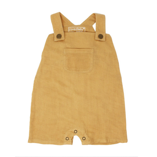 Organic Muslin Overall in Apricot, Flat