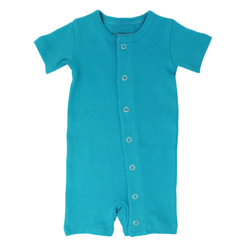 Short-Sleeve Romper in Teal, Flat