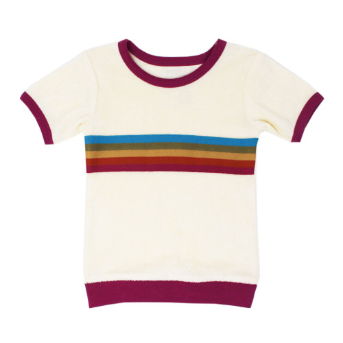 Kid's Terry Cloth Short-Sleeved Shirt in Magenta, Flat