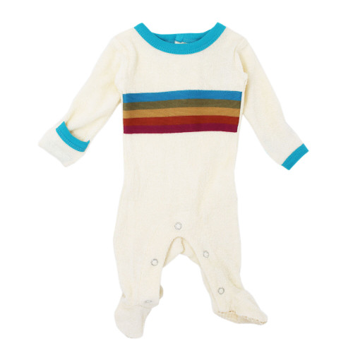 Terry Cloth Baby Footie in Teal, Flat