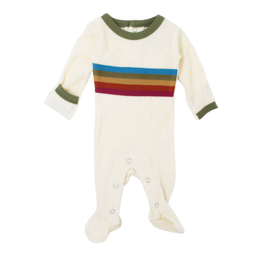 Terry Cloth Baby Footie in Sage, Flat