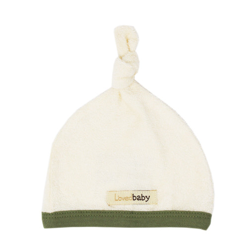Terry Cloth Top-Knot Cap in Sage, Flat