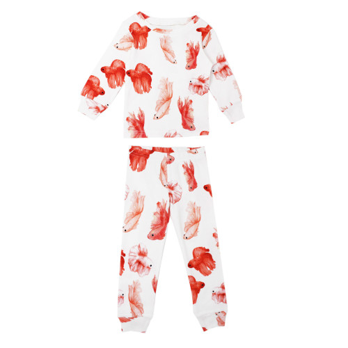 Organic Kids' L/Sleeve PJ Set in Goldfish, Flat