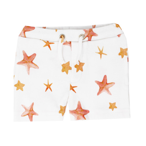 Organic Summer Shorts in Starfish, Flat
