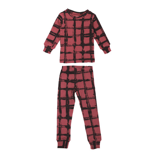 Organic Kids' L/Sleeve PJ Set in Appleberry Plaid, Flat