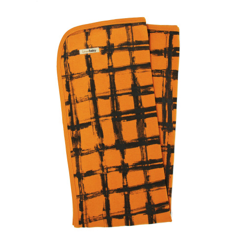 Organic Swaddling Blanket, Print in Butternut Plaid, Flat