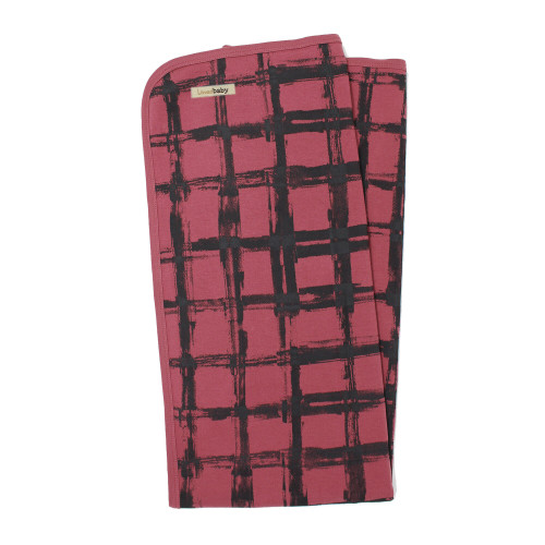 Organic Swaddling Blanket, Print in Appleberry Plaid, Flat