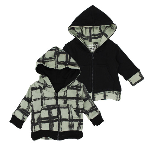 Kids' Reversible Zipper Hoodie in Seafoam Plaid, Flat