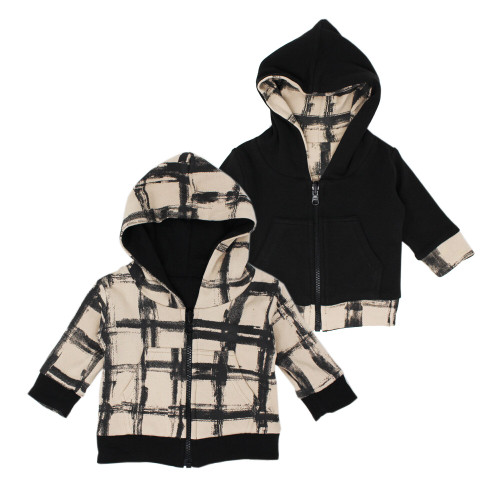 Reversible Zipper Hoodie in Oatmeal Plaid, Flat