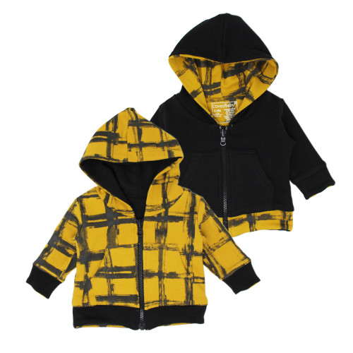 Reversible Zipper Hoodie in Citrine Plaid, Flat