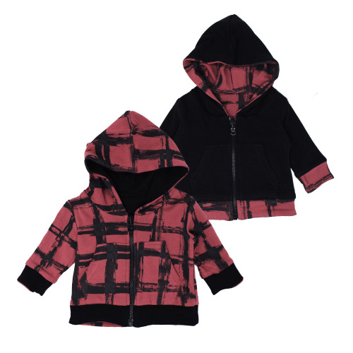 Reversible Zipper Hoodie in Appleberry Plaid, Flat