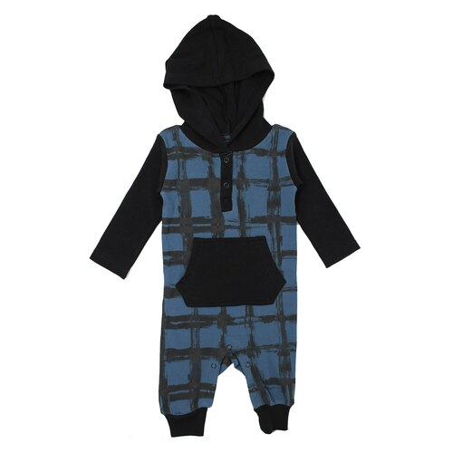 Organic Hooded Long-Sleeve Romper in Abyss Plaid, Flat