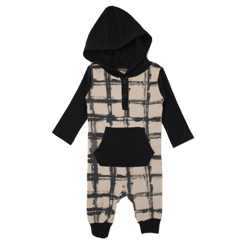 Organic Hooded Long-Sleeve Romper in Oatmeal Plaid, Flat