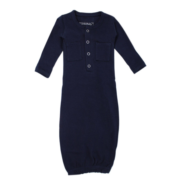 Organic Gown in Navy, Flat