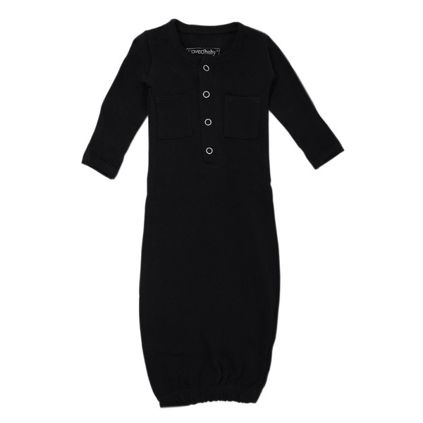 Organic Gown in Black, Flat