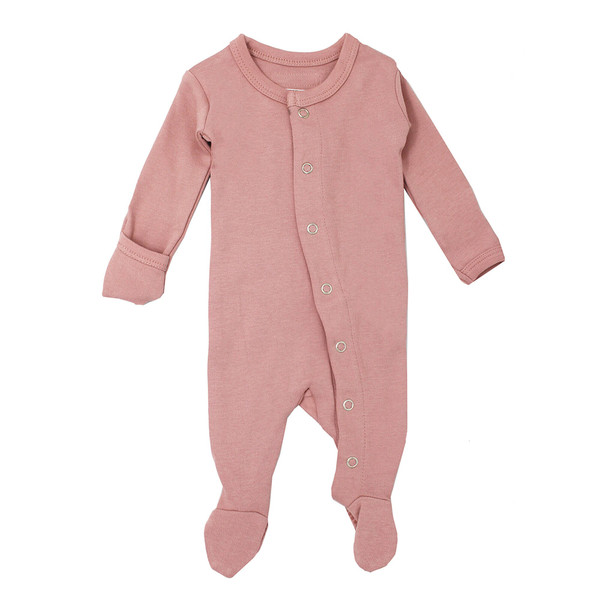 Organic Footed Overall in Mauve, Flat