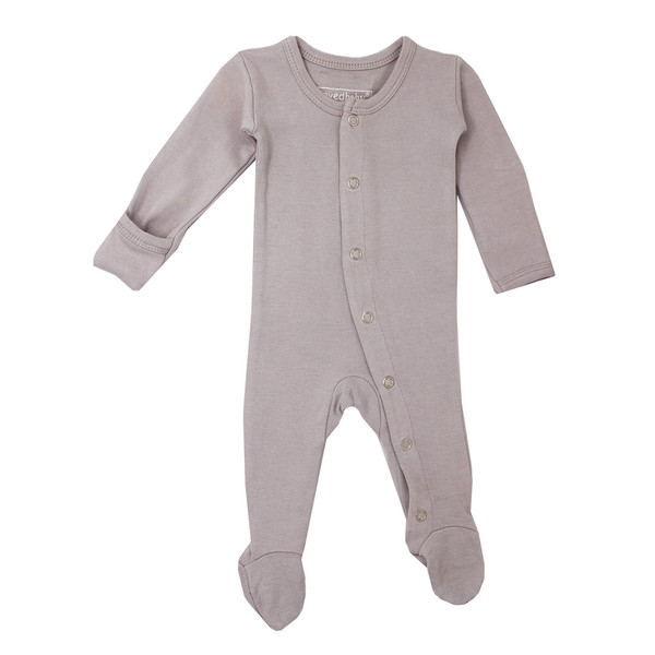 Organic Footed Overall in Light Gray, Flat