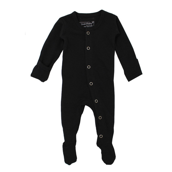 Organic Footed Overall in Black, Flat