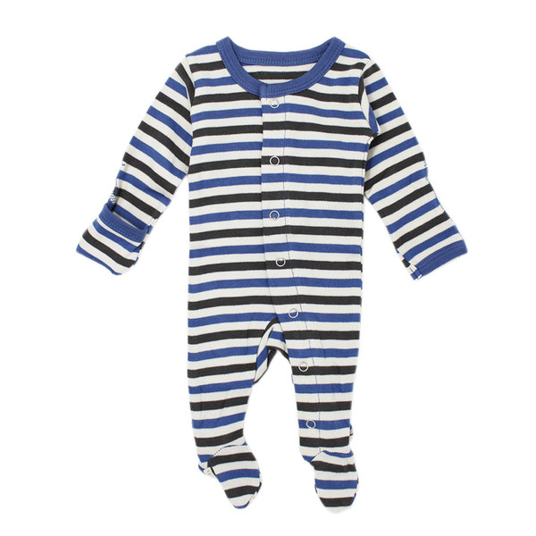 Organic Footed Overall in Slate Stripe, Flat