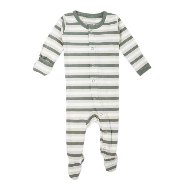 Organic Footed Overall in Seafoam Stripe, Flat