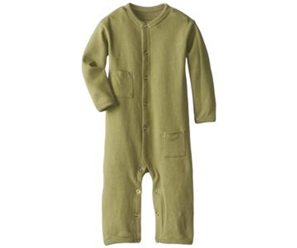 Organic Long-Sleeve Overall in Sage, Flat