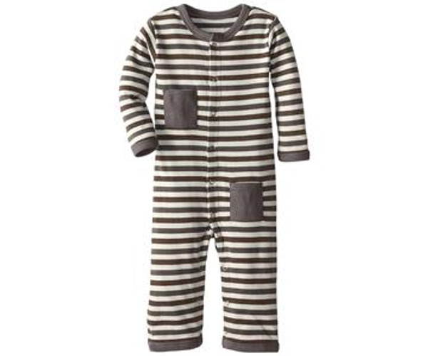 Organic Long-Sleeve Overall in Gray Stripe, Flat